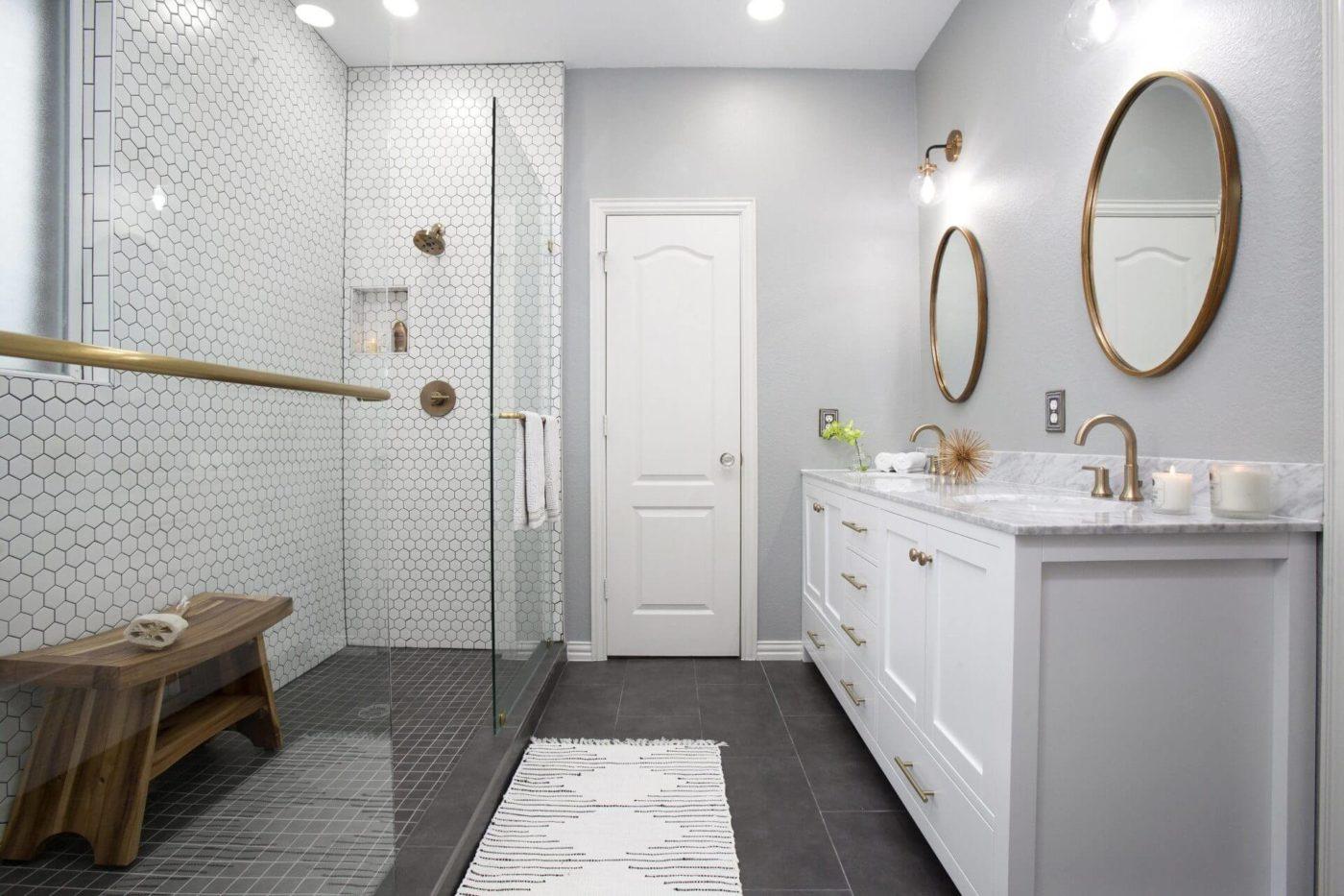 White modern master bathroom remodeling joseph berry for Bath remodel dallas