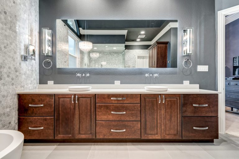 www.remodel-dallas.com Joseph&Berry luxury remodeling and luxury custom home in dallas Tx marble hexagon tiles bathroom bathroom remodeling dallas, best remodeling company dallas, large bathroom, large shower, modern bathroom design, brown vanity design