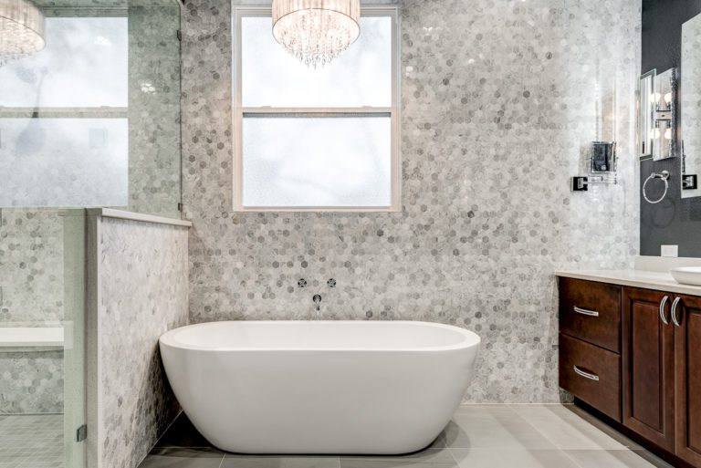 www.remodel-dallas.com Joseph & Berry luxury remodeling and luxury custom home in dallas Tx marble hexagon tiles bathroom remodeling dallas, best remodeling company dallas, large bathroom, large shower, modern bathroom design free standing tub white shower